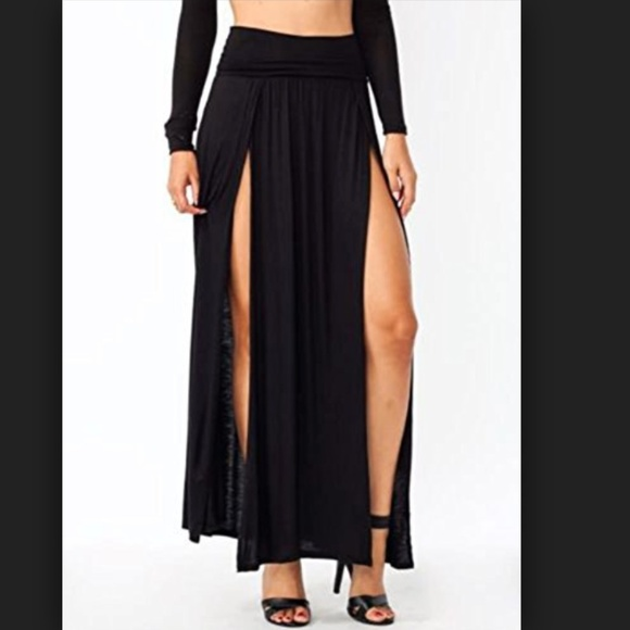 be1896bd660 Cody Dresses   Skirts - NWOT Black High Waisted Double Slit Maxi Skirt